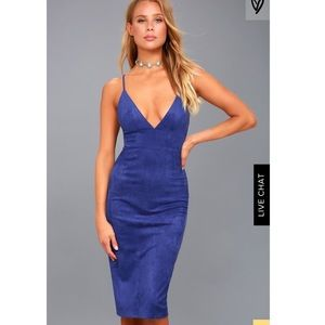Lulu's Royal Blue Suede Bodycon Dress